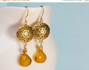 15 OFF. Exotic sunny earrings. Gold and yellow chalcedony earrings