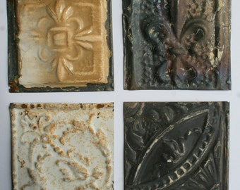 Genuine Antique Ceiling Tin -- 6 inch Tiles --  Crafts, Backsplashes, Birdhouses -- E14