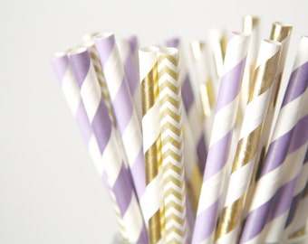 Purple and Gold Paper Straws . Baby Shower Decor, Wedding Decorations, Girls 1st Birthday Party, Cake Table