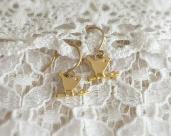 Little birds on a twig (earrings) - Gold plated charms on 14k Gold Filled ear wires