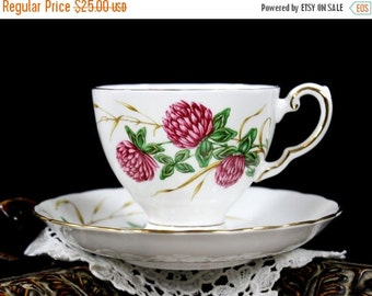 Royal Tuscan, Four Leaf Clover, Tea Cup and Saucer, Vintage Floral Teacups, English Bone China 13231