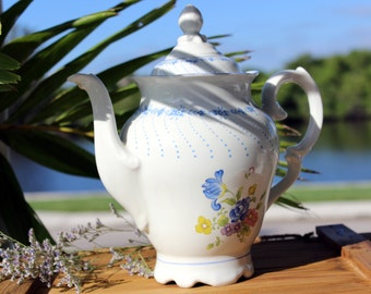 Chocolate or Coffee Pot, Blue and White, Large Schmidt Porcelain Pot 13643