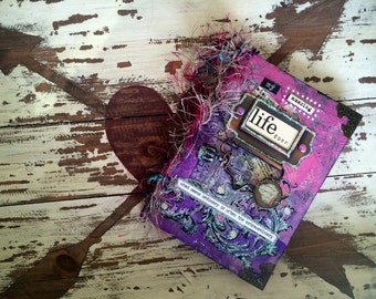 """Original Mixed Media Small Journal """"life"""" [80 lined pages]"""