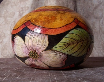 Small gourd bowl with wood burn dogwood flowers and leaves. 1894.