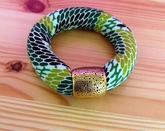 Green Chunky Bangle - African Fabric Ethnic bracelet