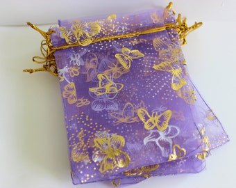 """Purple and Gold Organza Bags Butterfly Print 3.5"""" x 4.5""""  Favor Bags 50+ Weddings / Party Favors / Jewelry Bags / Trade Shows"""