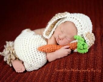 Baby  bunny newborn  or 0-3   photo prop hat bonnet shorts set Newborn winter wear easter photography