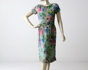 FREE SHIP  1960s beaded watercolor dress, vintage chiffon sequin dress