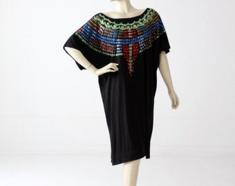 1980s Luv Tricot jersey dress, vintage black painted dress