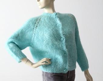 1950s mohair cardigan sweater