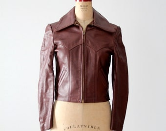 vintage Walter Dyer leather jacket, 70s brown leather jacket