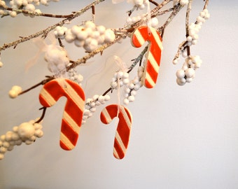 Ceramic Candy Cane Ornaments, Red on White, Set of Three 7301