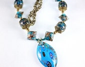 ON SALE Teal Blue Lampwork Necklace, Marquise Pendant, Venetian Inspired, Statement Necklace