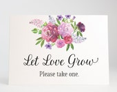 Let Love Grow Sign, Wedding Favors, Bridal Shower, Seed Bomb Favors, Plant Favors, Succulents - Garden Blooms, Size 5 x 7, Printed Sign
