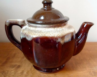 Vintage Brown Glaze Teapot for One Small Teapot