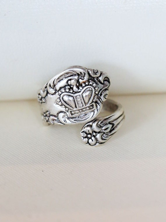 crown ring antique spoon ringjewelry gift silver spoon