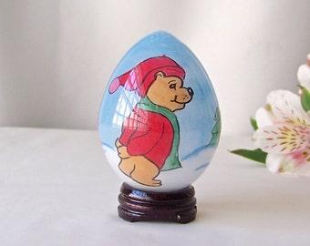 Vintage Glass Egg Églomisé Hand Painted Bear Easter Egg Gift Oriental Art Vintage 1980s