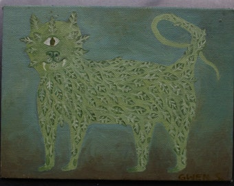 Original Oil Painting Surrealistic Clyclops Green Leafy Cat Children's Illustration