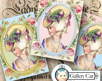 MARIE ANTOINETTE Digital Collage Sheet Instant Download for Gift Tags Cards Scrapbooking Paper Parties Crafts Art Projects GalleryCat #309
