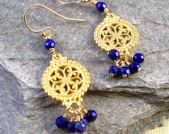 Gold Vermeil & Lapis Cut Out Earrings