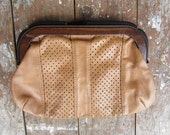 Vintage Clutch Bag Perforated Leathe Handbag