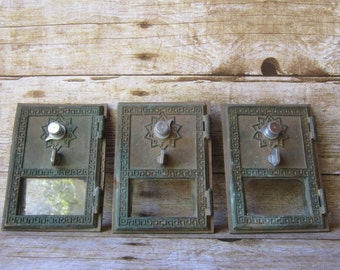 1960's Post Office Box Doors - Grecian Style Brass and Glass