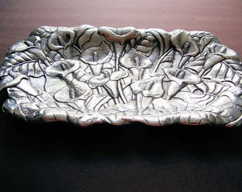 Arthur Court Serving Tray, Plate, 1991, Hand Polished Tulip Design