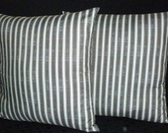 Throw Pillows, Pillow Covers, Decorative Pillows, Accent Pillows, 20 Inch Pillows -  Set of Two 20 Inch -  Grey and Off White Stripe