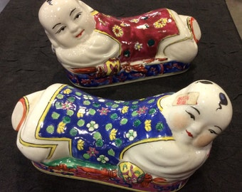 "Chinese Oriental ""Wrist Rest"", polychrome Hand Painted Boy and Girl Children Figurines"