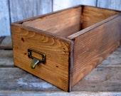 Library drawer, card catalog drawer,  wood storage box, handmade , Vintage Inspired storage box, office storage