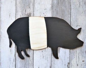 Large Handmade Wood Pig Sign Wall Art Shape Decor Farmhouse distressed Country Black Belted