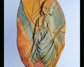 New Design,Gemstone Collection Multi Color Picasso Jasper Godness Carving Pendant,74x45x10mm,50.2g