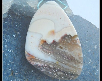 Natural Ocean Jasper Gemstone Pendant Bead,31x45x5mm,14.3g