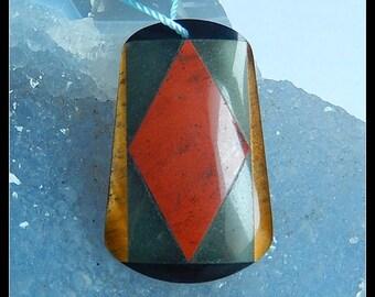 Obsidian,Red River Jasper,Tiger's Eye,Black Stone Intarsia Gemstone Pendant Bead,33x21x3mm,4.6g