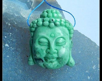 Carved Green Turquoise Buddha Head Pendant Bead,30x24x12mm,12.6g
