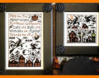 Halloween Cross Stitch Prairie Schooler 174 Pattern CATS BATS & WITCHES - Pumpkin Jack-O-Lantern  Haunted House Sampler