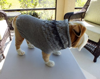 "Dog Sweater Hand Knit English Bulldog Barkley 18"" inches long Merino Wool"