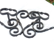 French Vintage Black Wrought Iron Scrollwork Coat Rack - 4 Coat Hooks - Hat Rack - Rustic - Country - Farmhouse - French Vintage Finds - SPT