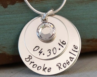 Mommy Necklace - Sterling Silver Personalized Hand Stamped Jewelry - My Baby Info 2nd edition