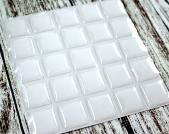100 - 20x18mm 2mm Thick Clear Epoxy Sticker Dots Scrabble Tile