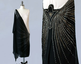 1920s Dress / 20s FRENCH Two Tone RHINESTONE Studded and Gold Lame Embroidered Dress / Black and Cream