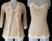 50s Pin Up Lingerie Set - 3 Pieces - Sheer Chemise - Sheer Robe - Sheer Hipster Panties - Small