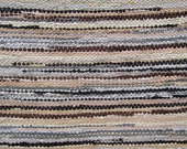 Handwoven  vintage look rag rug,4,44' x 2,1' ready for sale, light brown , beige,dark brown
