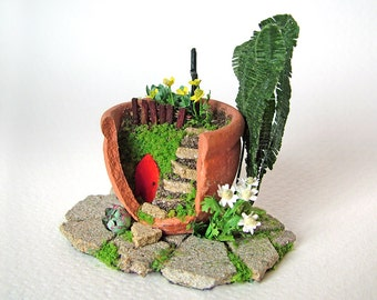 Miniature Handmade Fairy Garden in a Terracotta Pot with Buttercups and Daisies, for the 12th Scale Dolls' House