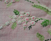Vintage Square Pink Tablecloth with Embroidered Flowers and Greenery - Small