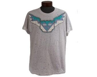 Vintage Southwestern T-shirt Studded Arizona New Mexico Native American Speckled Shirt Size XL