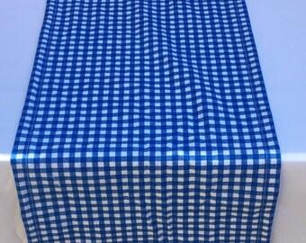 Table Runner, Blue and White Check, Gingham Runner, Wedding, Shower, Party, Home Decor, Custom Sizes Available