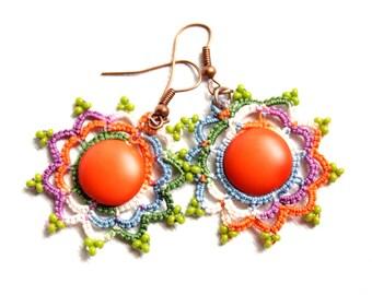 Orange Sunburst Fiber Tatting Beaded Dangle Earring