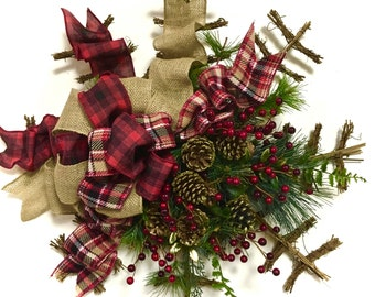 Rustic, Primitive, Country, Winter, Christmas, Holiday Wreath Indoor Outdoor Twig, Pinecone Berry & Pine Snowflake Wreath