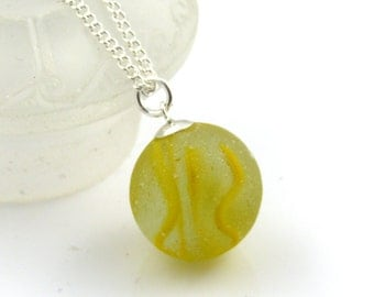 Sea Glass Necklace Sea Glass Marble Sea Glass Pendant Yellow Glass Necklace Vintage Glass Necklace